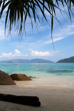 beautiful  wild beach in kho Lipe island , Thailand, vertical Stock Photo