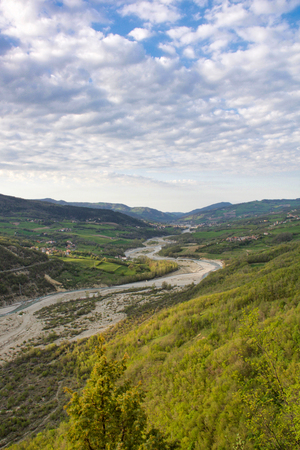 landscape of valley and his creek in emilia romagna hills, Italy Stock Photo