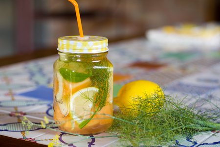 fennel grass for detox fruit flavored water in a glass jar