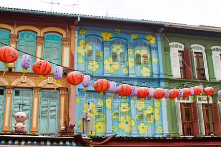street decorations  with chinese lanterns in china town, Singapore Editorial