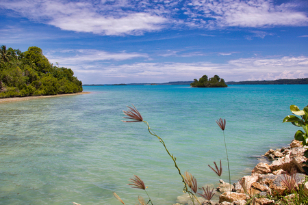 amazing tropical seascape with turqouise water, indonesian borneo