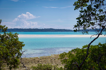 tropical turquoise lagoon with low tide, indonesian borneo