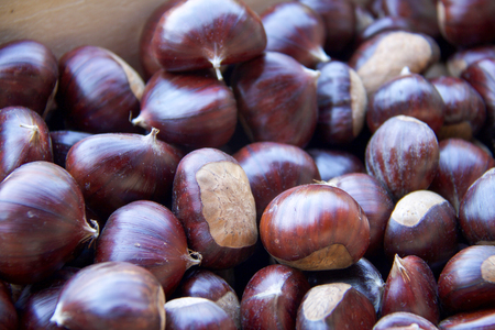 close up of big beautiful chestnuts, full frame