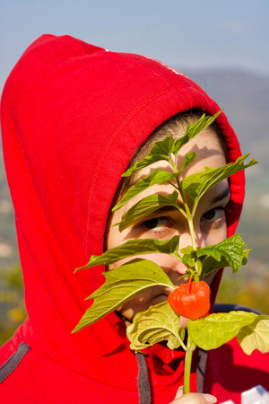 close portrait of girl in  red hood and branch of plant in front of the face