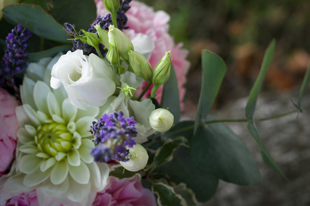 details of a beautiful spring bouquet in natural light, defocused background
