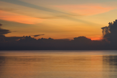 selective focus on the colors of the sky in tropical sunset, borneo island