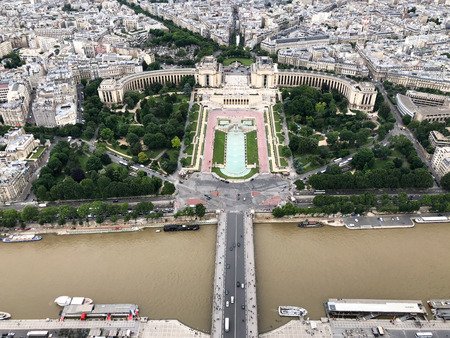 aerial view of seine river and palais de chaillot on trocadero, paris, europe