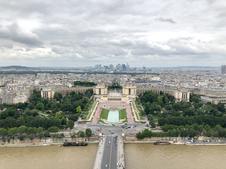 aerial view of palais de chaillot and trocadero in paris city from eiffel tower Stock Photo