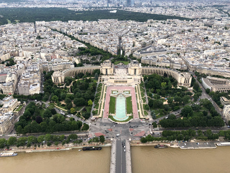 aerial view of trocadero and palais de chaillot from the eiffel tower in Paris, europe