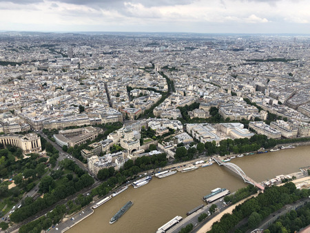 aerial view of  seine river and arch of triumph  from eiffel tower, Paris Stock Photo