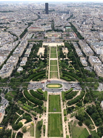 champ de mars and city view from the  eiffel tower in Paris, european capital