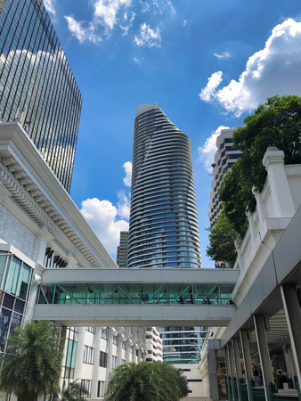 cityscape view with business building in modern architecture in metropolitan city center, Thailand