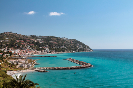 view of Ospedaletti  a beautiful town on the ligurian riviera near San Remo Banco de Imagens