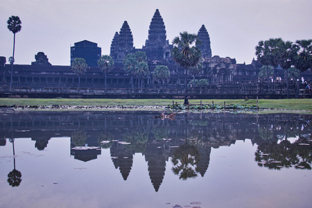 the entrance of Angkor Wat temple in Siem Reap Cambodia at sunrise
