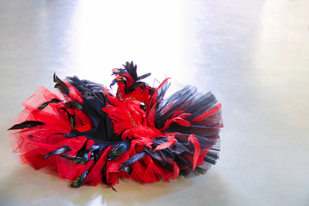 classical tutu red and black with plumage isolated on grey concrete floor