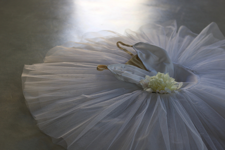 white tutu decorated  with white peony for classical ballet isolated on grey floor