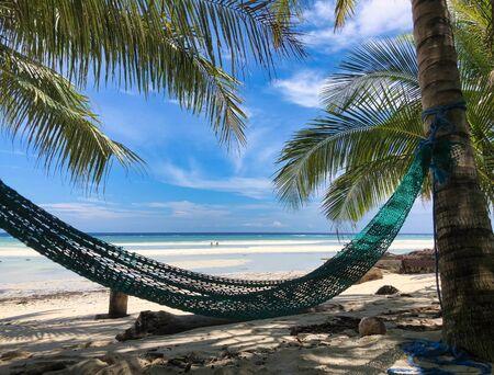 green hammock on coconut palm in a wild beach of maratua island, kalimantan