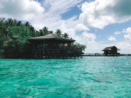wooden restaurant on the water in maratua island, Kalimantan