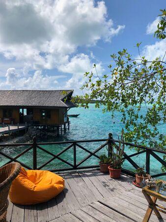 relaxing area on a balcony in a tropical resort, derawan islands