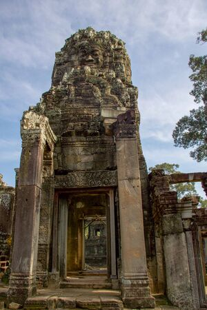 part of angkor thom temple in archaeological site of angkor, Cambodia