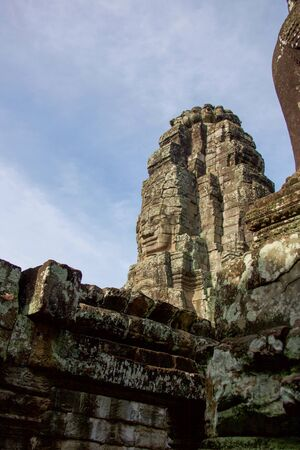 part of ruins of angkor thom temple in Cambodia