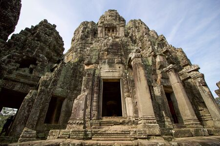 details of angkor thom buddhist temple in Cambodia