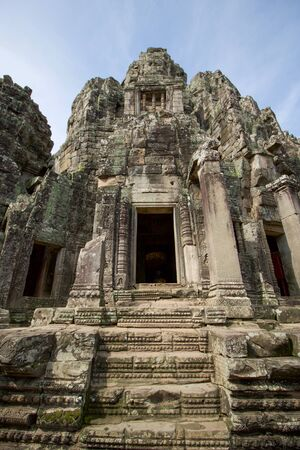 part of angkor thom buddhist temple  in cambodia