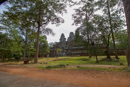 part of a large archaeological site between rain forest of angkor