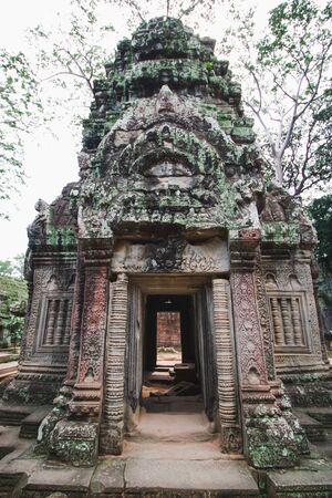 part of Ta prohm temple in angkor in the middle of rain forest, Cambodia Stock Photo