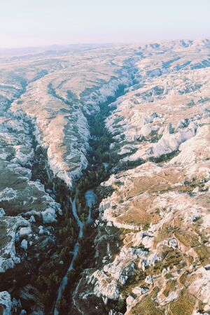 aerial view of goreme valleys  with tufa formations, Cappadocia