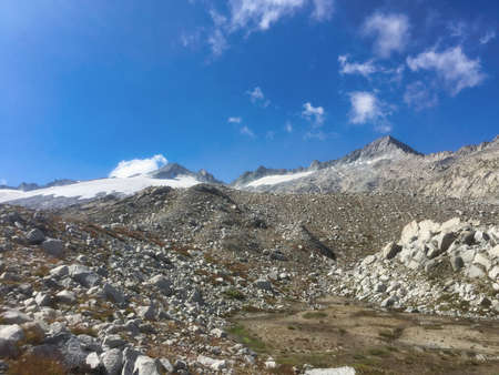 panorama in a sunny day of adamello mountains and glacier, Italy