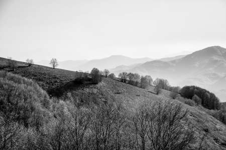 mountain ridge landscape with fog and mist in sunny day, black and white