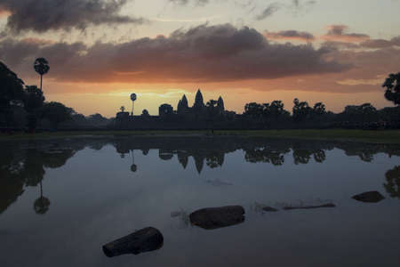 beautiful landscape of Angkor Wat temple at sunset in Cambodia Stock Photo