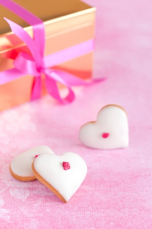 Homemade white chocolate frosting cookies for valentine?s day photo