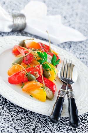 Italian stewed peppers with capers and anchovies, selective focus Stock Photo - 12251242