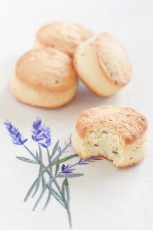 Orange lavender scones, selective focus