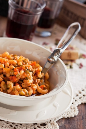 Pasta with lentils, vegetables and cheese, selective focus  Stock Photo