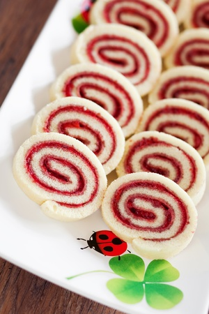 Strawberry jam roulade, selective focus