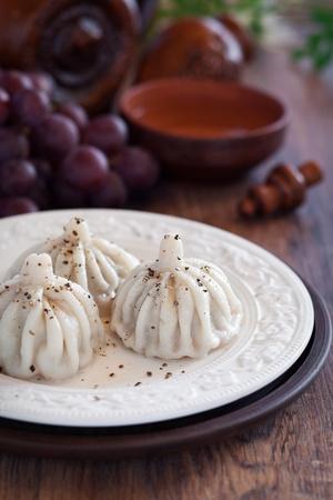 Meat dumplings (Khinkali). Georgian cuisine, selective focus