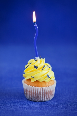 Birthday cupcake with lemon butter cream and dried cornflower petals, selective focus photo