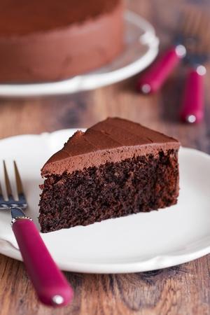 Chocolate beetroot cake, selective focus