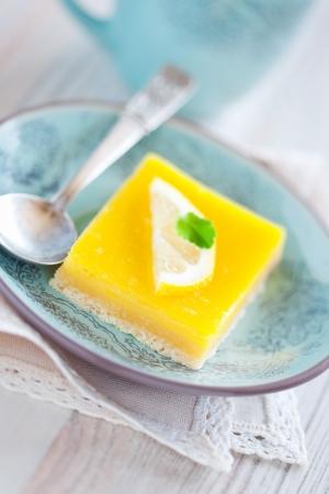 Lemon grenadilla tart, selective focus  Stock Photo - 13801925
