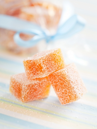 fructose: Homemade ??peach and passion fruit jelly candy, selective focus