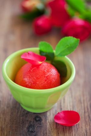 Watermelon roses and vanilla sorbet