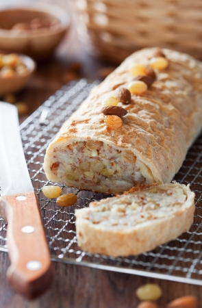 Pears strudel with almonds and raisins. Selective focus Stock Photo - 14609422
