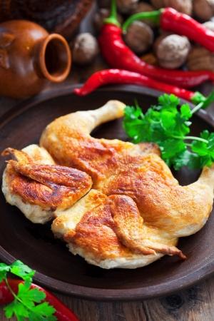 Chicken Tabaka (Georgian cuisine), selective focus Stock Photo - 15199714