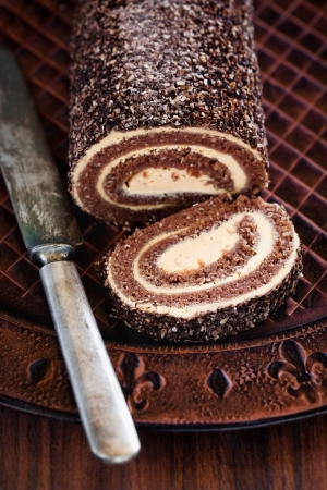 Oatmeal chocolate swiss roll, selective focus