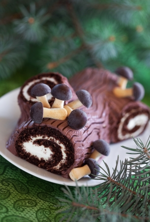 Traditional Christmas Yule Log cake decorated with chocolate mushrooms cookies, selective focus photo