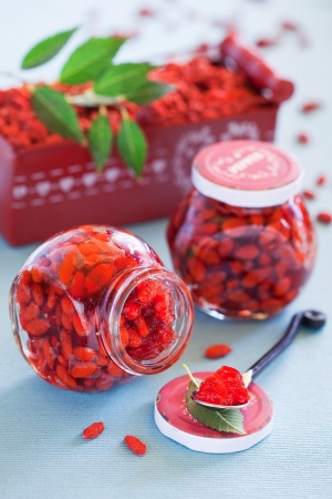 Goji berry jam with vanilla, selective focus Stock Photo
