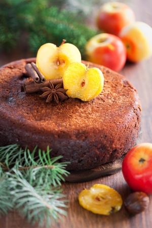 Chocolate apple cake, selective focus 版權商用圖片